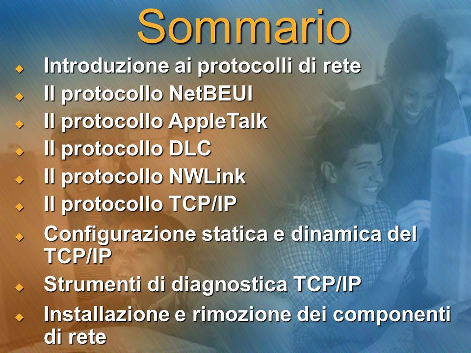 Sommario  Introduzione ai protocolli di rete  Il protocollo NetBEUI  Il protocollo AppleTalk  Il protocollo DLC  Il protocollo NWLink  Il protocollo TCP/IP  Configurazione statica e dinamica del TCP/IP  Strumenti di diagnostica TCP/IP  Installazione e rimozione dei componenti di rete