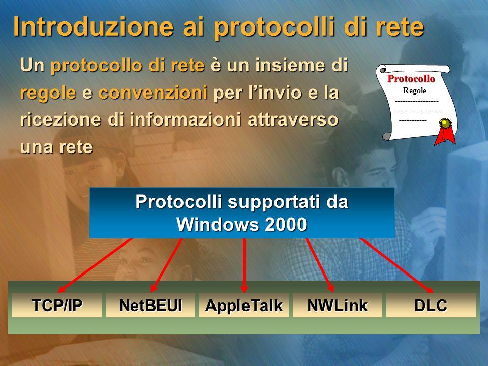 Introduzione ai protocolli di rete Introduzione ai protocolli di rete Un protocollo di rete è un insieme di Un protocollo di rete è un insieme di regole e convenzioni per l'invio e la regole e convenzioni per l'invio e la ricezione di informazioni attraverso ricezione di informazioni attraverso una rete una rete Protocollo Protocolli supportati da Windows 2000 TCP/IPDLCNetBEUIAppleTalkNWLink Regole ----------------- -----------