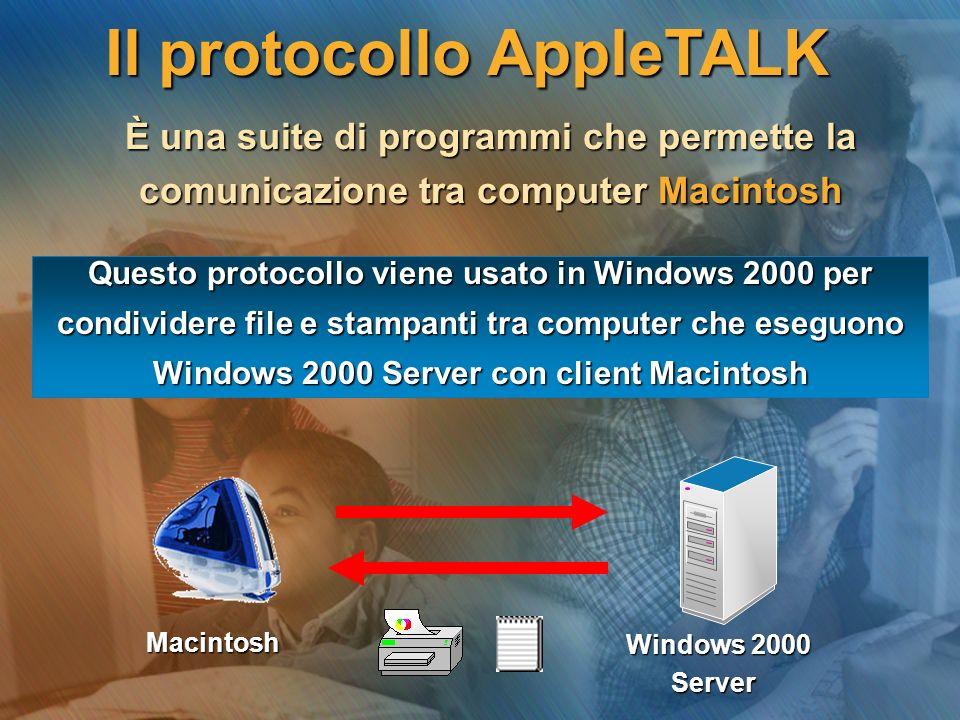 Il protocollo AppleTALK È una suite di programmi che permette la È una suite di programmi che permette la comunicazione tra computer Macintosh comunicazione tra computer Macintosh Windows 2000 Server Server Macintosh Questo protocollo viene usato in Windows 2000 per condividere file e stampanti tra computer che eseguono Windows 2000 Server con client Macintosh