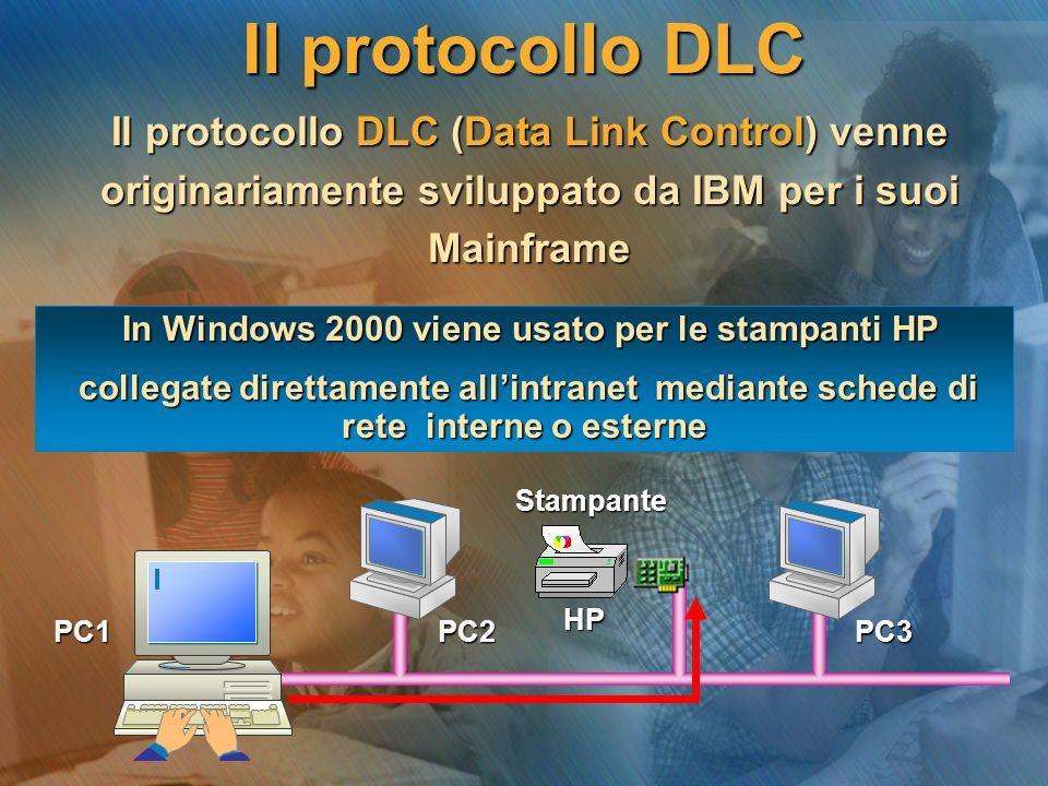 Il protocollo DLC Il protocollo DLC (Data Link Control) venne Il protocollo DLC (Data Link Control) venne originariamente sviluppato da IBM per i suoi originariamente sviluppato da IBM per i suoi Mainframe Mainframe Stampante Stampante HP HP PC1 PC2 PC3 PC1 PC2 PC3 In Windows 2000 viene usato per le stampanti HP In Windows 2000 viene usato per le stampanti HP collegate direttamente all'intranet mediante schede di rete interne o esterne collegate direttamente all'intranet mediante schede di rete interne o esterne