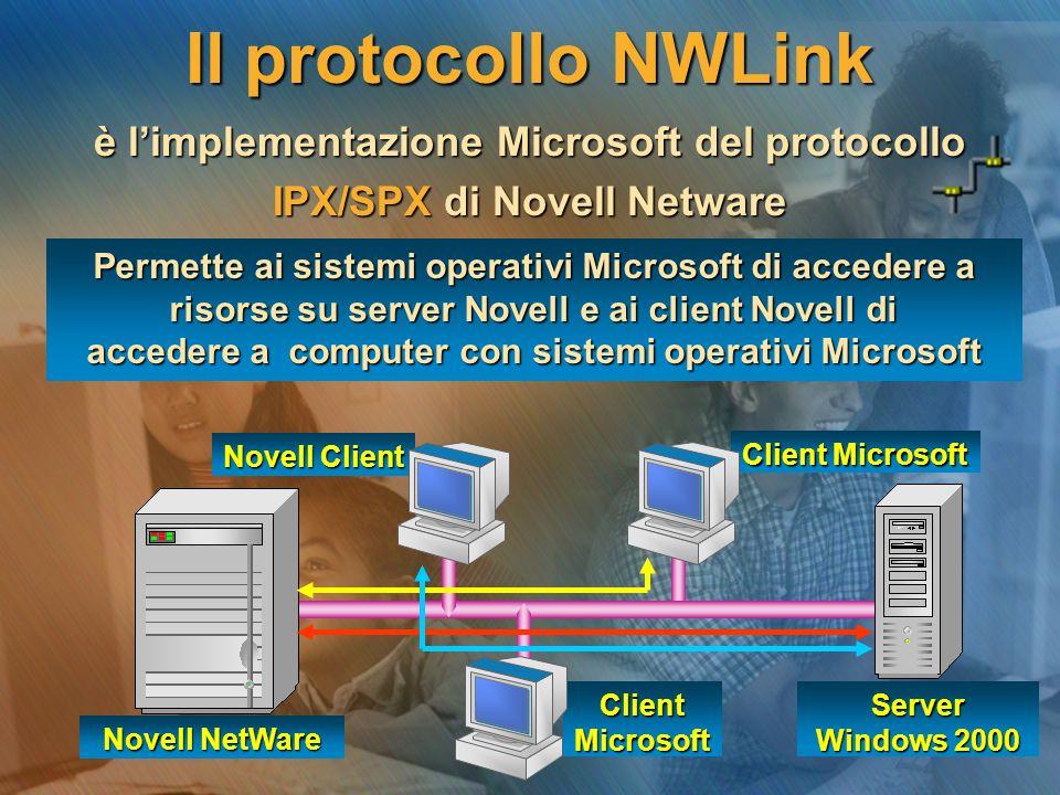 ClientMicrosoft Server Windows 2000 Client Microsoft Novell Client Il protocollo NWLink è l'implementazione Microsoft del protocollo IPX/SPX di Novell Netware Permette ai sistemi operativi Microsoft di accedere a risorse su server Novell e ai client Novell di accedere a computer con sistemi operativi Microsoft Novell NetWare