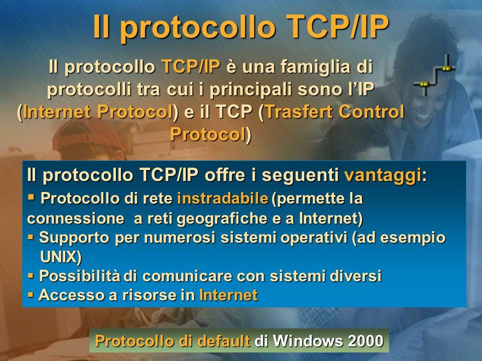 Il protocollo TCP/IP Il protocollo TCP/IP è una famiglia di protocolli tra cui i principali sono l'IP (Internet Protocol) e il TCP (Trasfert Control Protocol) Il protocollo TCP/IP offre i seguenti vantaggi:  Protocollo di rete instradabile (permette la connessione a reti geografiche e a Internet)  Supporto per numerosi sistemi operativi (ad esempio UNIX) UNIX)  Possibilità di comunicare con sistemi diversi  Accesso a risorse in Internet Protocollo di default di Windows 2000
