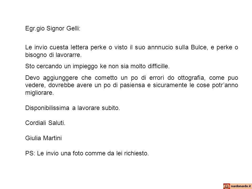 Egr.gio Signor Gelli: Le invio cuesta lettera perke o visto il suo annnucio sulla Bulce, e perke o bisogno di lavorarre. Sto cercando un impieggo ke n