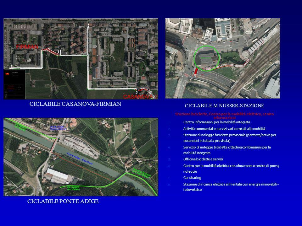 CICLABILE CASANOVA-FIRMIAN CICLABILE PONTE ADIGE CICLABILE M.NUSSER-STAZIONE Stazione biciclette, Centro per la mobilità elettrica, centro informazioni 1.