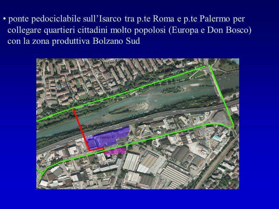 ponte pedociclabile sull'Isarco tra p.te Roma e p.te Palermo per collegare quartieri cittadini molto popolosi (Europa e Don Bosco) con la zona produttiva Bolzano Sud