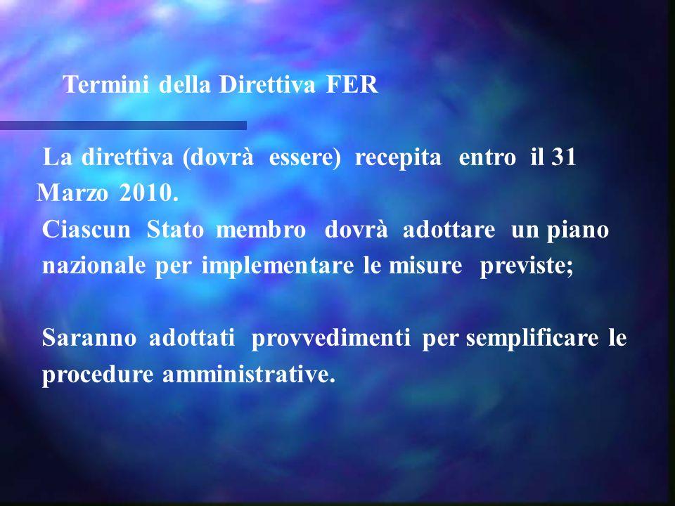 Termini della Direttiva FER La direttiva (dovrà essere) recepita entro il 31 Marzo 2010. Ciascun Stato membro dovrà adottare un piano nazionale per im