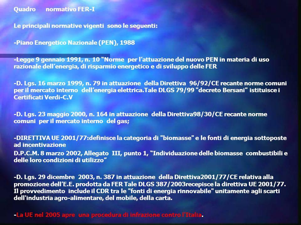 Quadro normativo FER-I Le principali normative vigenti sono le seguenti: -Piano Energetico Nazionale (PEN), 1988 -Legge 9 gennaio 1991, n.