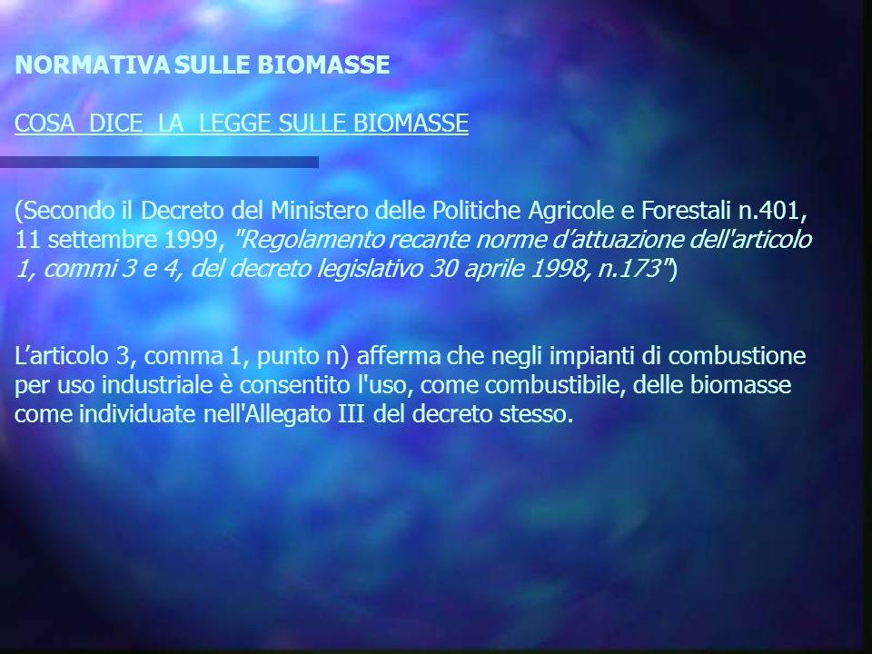 NORMATIVA SULLE BIOMASSE COSA DICE LA LEGGE SULLE BIOMASSE (Secondo il Decreto del Ministero delle Politiche Agricole e Forestali n.401, 11 settembre