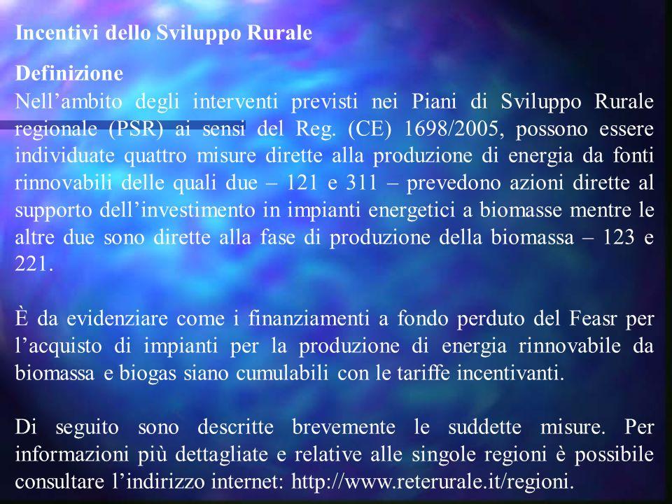 Incentivi dello Sviluppo Rurale Definizione Nell'ambito degli interventi previsti nei Piani di Sviluppo Rurale regionale (PSR) ai sensi del Reg. (CE)