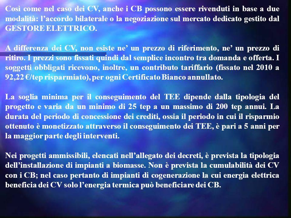 Così come nel caso dei CV, anche i CB possono essere rivenduti in base a due modalità: l'accordo bilaterale o la negoziazione sul mercato dedicato gestito dal GESTORE ELETTRICO.