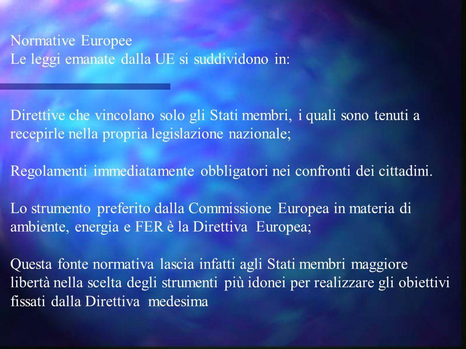 Normative Europee Le leggi emanate dalla UE si suddividono in: Direttive che vincolano solo gli Stati membri, i quali sono tenuti a recepirle nella propria legislazione nazionale; Regolamenti immediatamente obbligatori nei confronti dei cittadini.