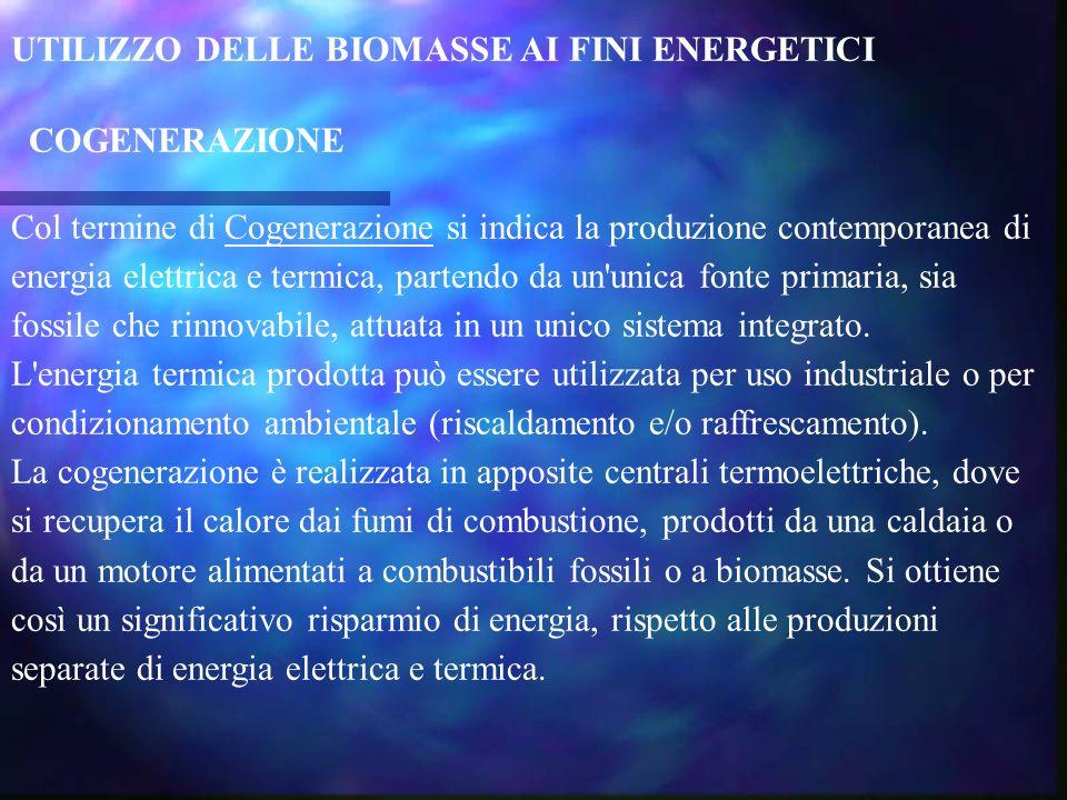 UTILIZZO DELLE BIOMASSE AI FINI ENERGETICI COGENERAZIONE Col termine di Cogenerazione si indica la produzione contemporanea di energia elettrica e ter