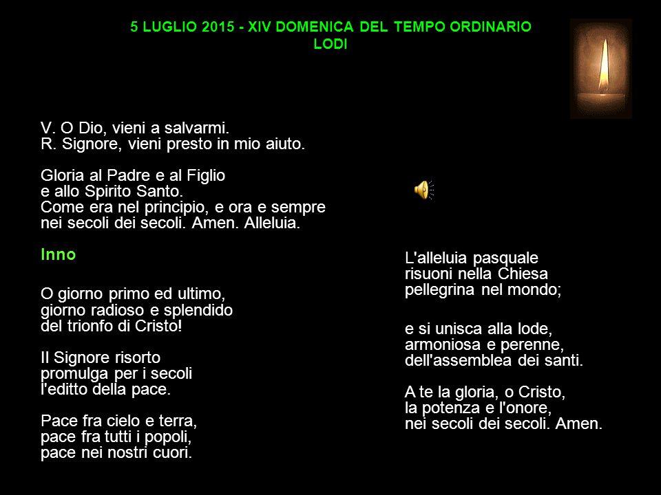 5 LUGLIO 2015 - XIV DOMENICA DEL TEMPO ORDINARIO LODI V.