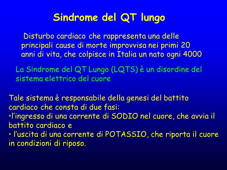 Sindrome del QT lungo Disturbo cardiaco che rappresenta una delle principali cause di morte improvvisa nei primi 20 anni di vita, che colpisce in Ital