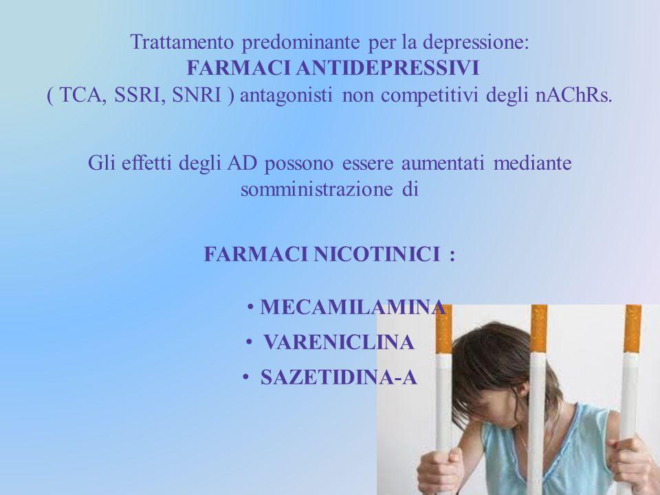Trattamento predominante per la depressione: FARMACI ANTIDEPRESSIVI ( TCA, SSRI, SNRI ) antagonisti non competitivi degli nAChRs.