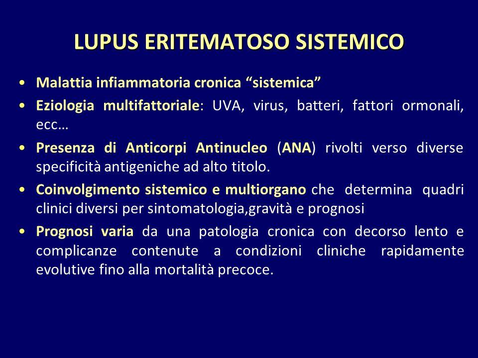 LUPUS ERITEMATOSO SISTEMICO Malattia infiammatoria cronica sistemica Eziologia multifattoriale: UVA, virus, batteri, fattori ormonali, ecc… Presenza di Anticorpi Antinucleo (ANA) rivolti verso diverse specificità antigeniche ad alto titolo.