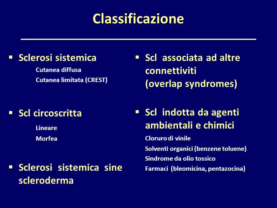  Sclerosi sistemica Cutanea diffusa Cutanea limitata (CREST)  Scl circoscritta Lineare Morfea  Sclerosi sistemica sine scleroderma  Scl associata