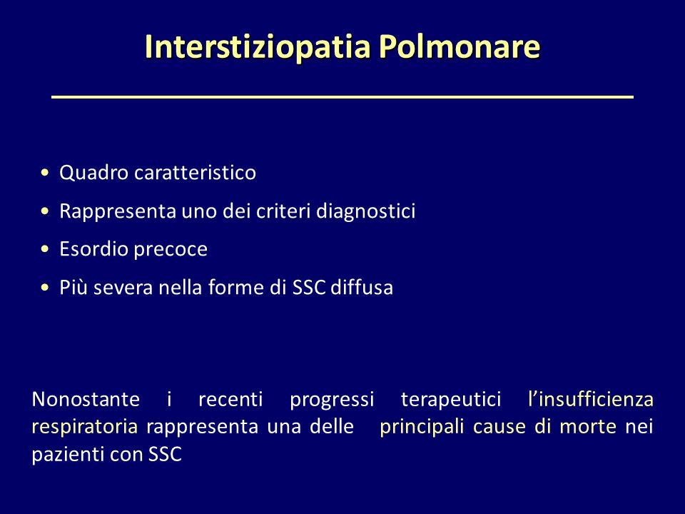 Interstiziopatia Polmonare Quadro caratteristico Rappresenta uno dei criteri diagnostici Esordio precoce Più severa nella forme di SSC diffusa Nonosta