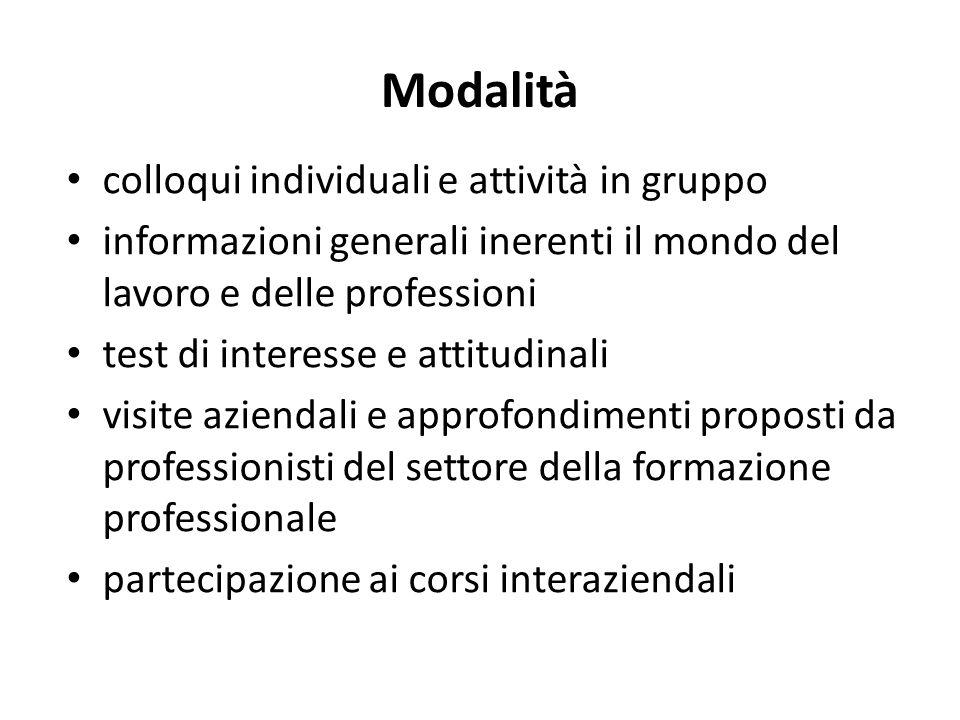 Modalità colloqui individuali e attività in gruppo informazioni generali inerenti il mondo del lavoro e delle professioni test di interesse e attitudi