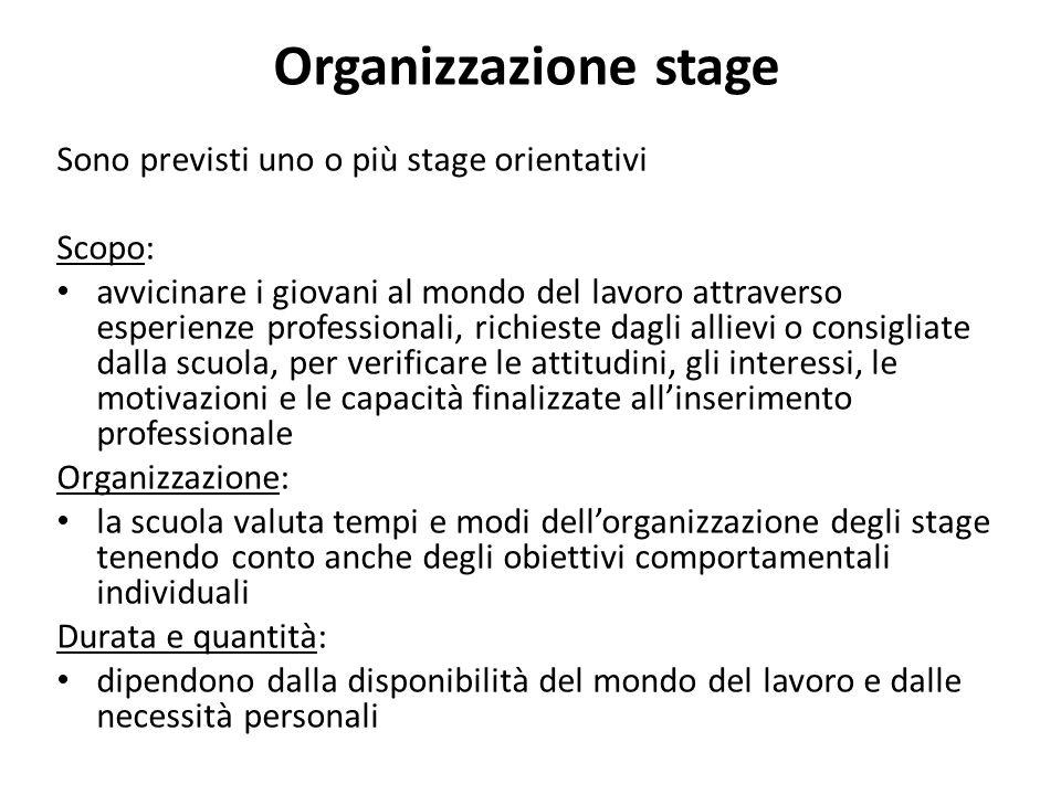 Organizzazione stage Sono previsti uno o più stage orientativi Scopo: avvicinare i giovani al mondo del lavoro attraverso esperienze professionali, ri
