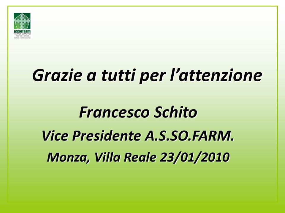 Grazie a tutti per l'attenzione Francesco Schito Vice Presidente A.S.SO.FARM.