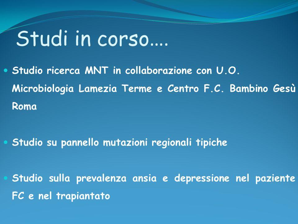 Studi in corso …. Studio ricerca MNT in collaborazione con U.O. Microbiologia Lamezia Terme e Centro F.C. Bambino Gesù Roma Studio su pannello mutazio