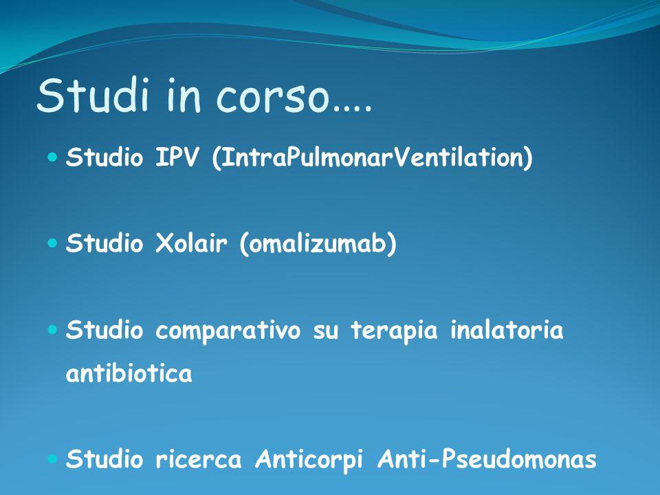 Studi in corso …. Studio IPV (IntraPulmonarVentilation) Studio Xolair (omalizumab) Studio comparativo su terapia inalatoria antibiotica Studio ricerca