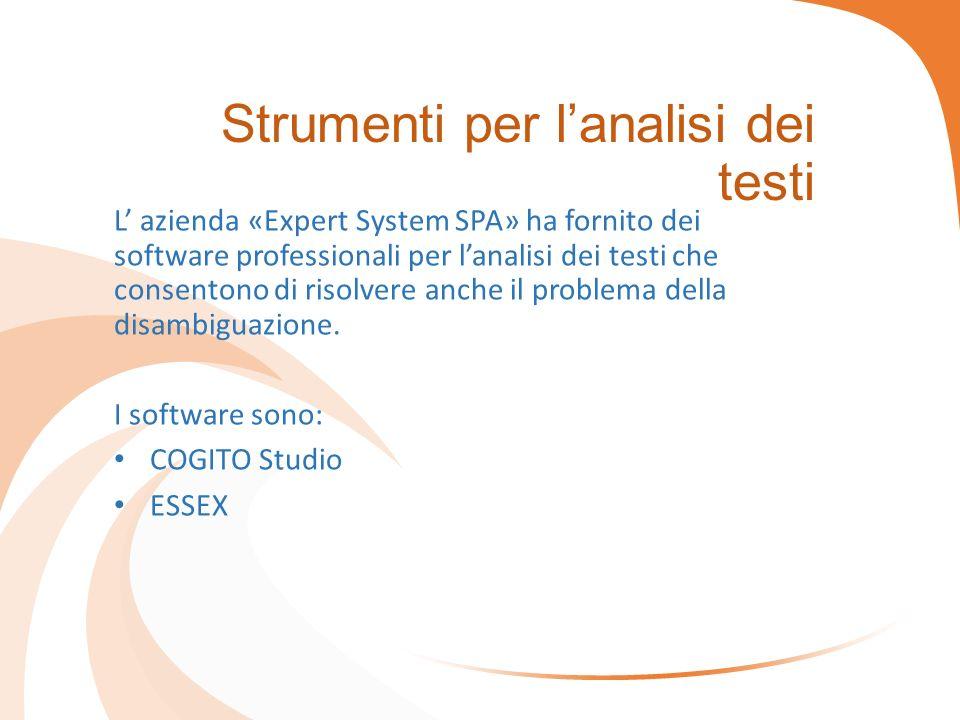 Strumenti per l'analisi dei testi L' azienda «Expert System SPA» ha fornito dei software professionali per l'analisi dei testi che consentono di risolvere anche il problema della disambiguazione.