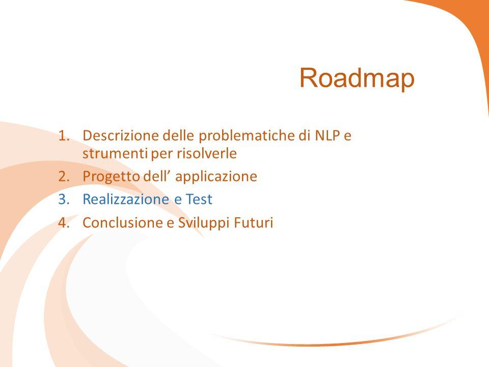 Roadmap 1.Descrizione delle problematiche di NLP e strumenti per risolverle 2.Progetto dell' applicazione 3.Realizzazione e Test 4.Conclusione e Svilu