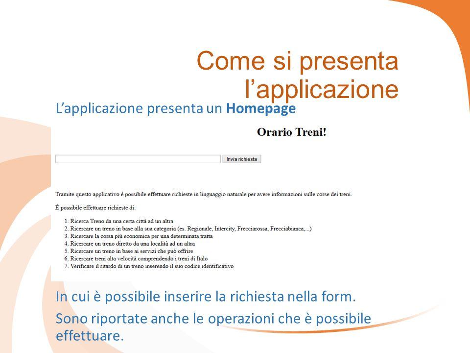 Come si presenta l'applicazione L'applicazione presenta un Homepage In cui è possibile inserire la richiesta nella form. Sono riportate anche le opera