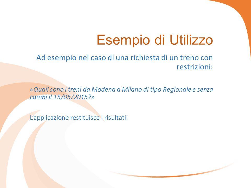 Esempio di Utilizzo Ad esempio nel caso di una richiesta di un treno con restrizioni: «Quali sono i treni da Modena a Milano di tipo Regionale e senza cambi il 15/05/2015 » L'applicazione restituisce i risultati: