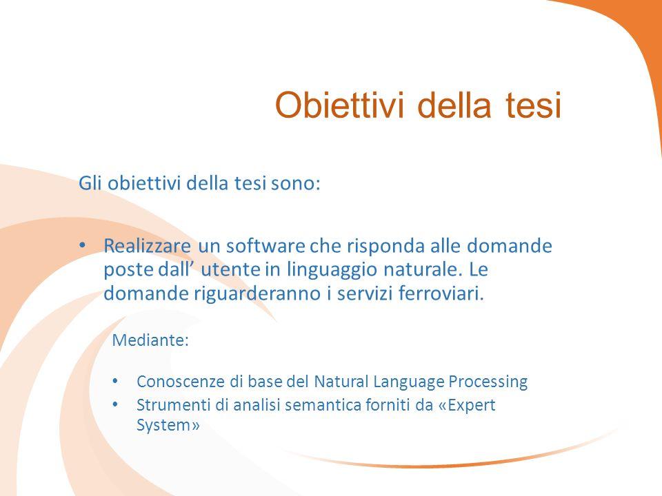 Obiettivi della tesi Gli obiettivi della tesi sono: Realizzare un software che risponda alle domande poste dall' utente in linguaggio naturale.