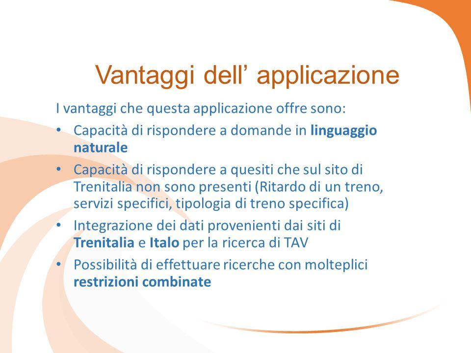 Vantaggi dell' applicazione I vantaggi che questa applicazione offre sono: Capacità di rispondere a domande in linguaggio naturale Capacità di rispond