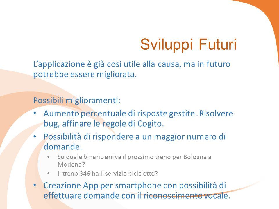Sviluppi Futuri L'applicazione è già così utile alla causa, ma in futuro potrebbe essere migliorata.