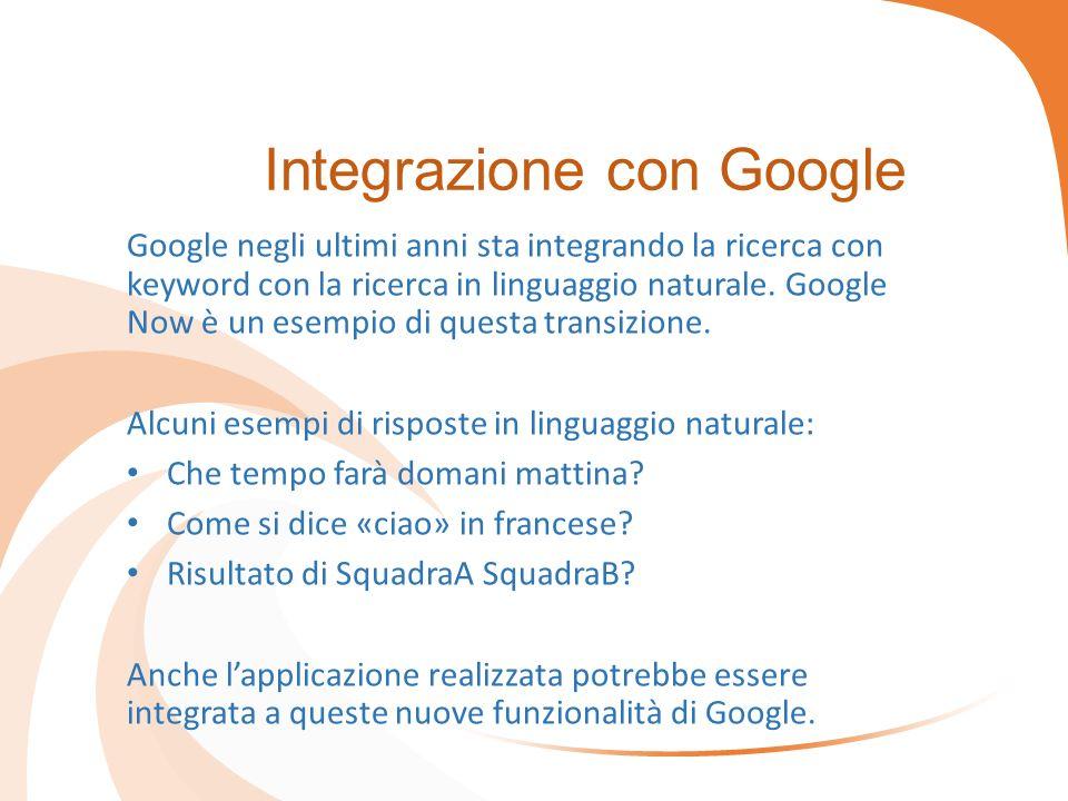 Integrazione con Google Google negli ultimi anni sta integrando la ricerca con keyword con la ricerca in linguaggio naturale. Google Now è un esempio