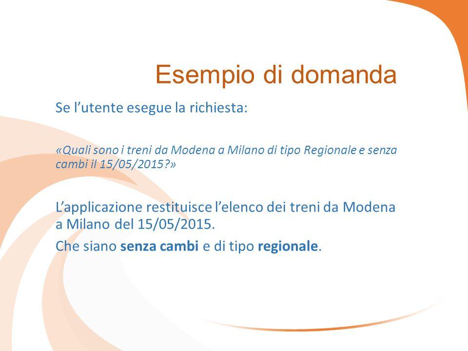 Esempio di domanda Se l'utente esegue la richiesta: «Quali sono i treni da Modena a Milano di tipo Regionale e senza cambi il 15/05/2015 » L'applicazione restituisce l'elenco dei treni da Modena a Milano del 15/05/2015.