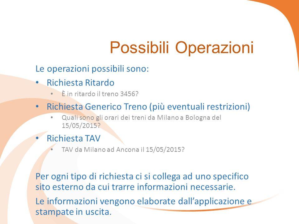 Possibili Operazioni Le operazioni possibili sono: Richiesta Ritardo È in ritardo il treno 3456.