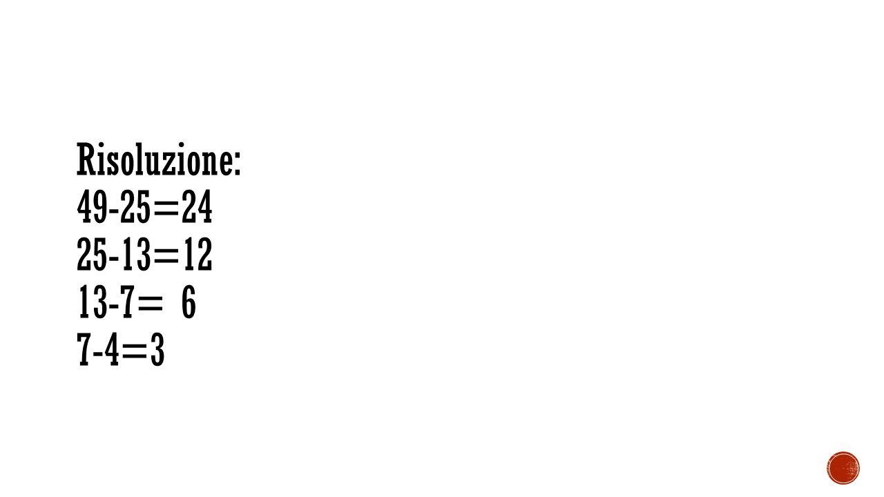 Risoluzione: 49-25=24 25-13=12 13-7= 6 7-4=3