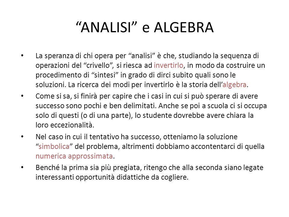 """""""ANALISI"""" e ALGEBRA La speranza di chi opera per """"analisi"""" è che, studiando la sequenza di operazioni del """"crivello"""", si riesca ad invertirlo, in modo"""