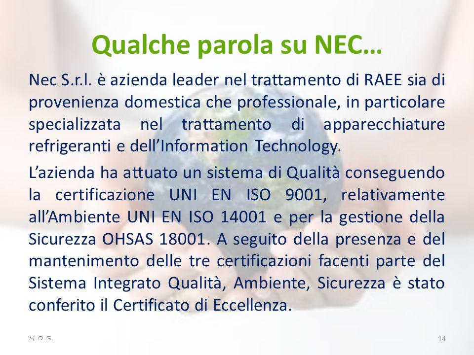 Qualche parola su NEC… Nec S.r.l. è azienda leader nel trattamento di RAEE sia di provenienza domestica che professionale, in particolare specializzat
