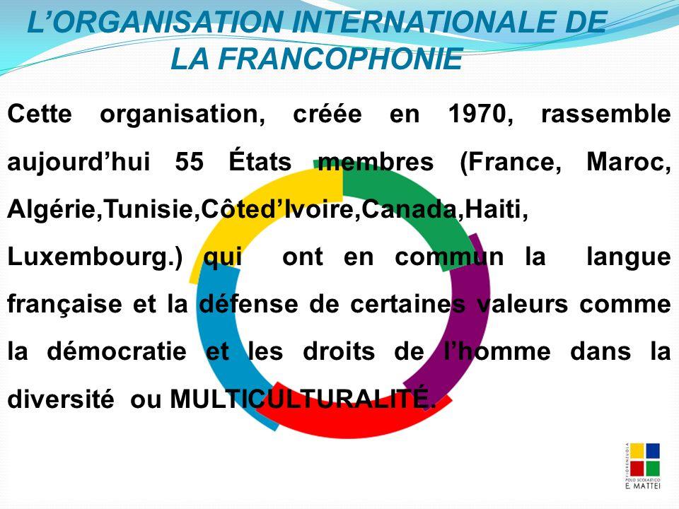 Cette organisation, créée en 1970, rassemble aujourd'hui 55 États membres (France, Maroc, Algérie,Tunisie,Côted'Ivoire,Canada,Haiti, Luxembourg.) qui ont en commun la langue française et la défense de certaines valeurs comme la démocratie et les droits de l'homme dans la diversité ou MULTICULTURALITÉ.