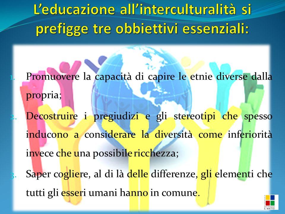 1. Promuovere la capacità di capire le etnie diverse dalla propria; 2.