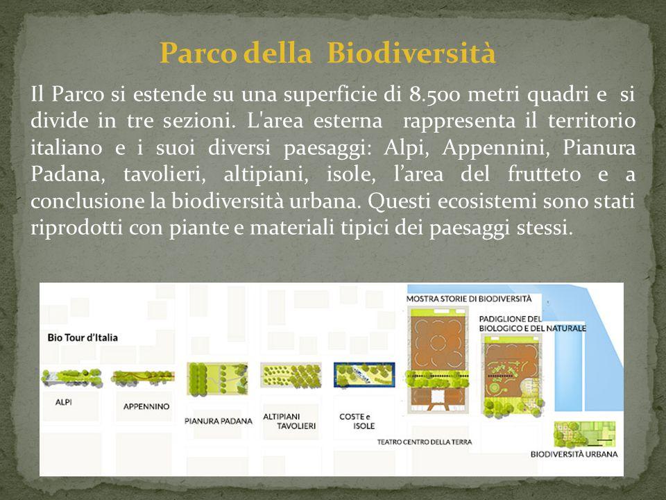 Il Parco si estende su una superficie di 8.500 metri quadri e si divide in tre sezioni. L'area esterna rappresenta il territorio italiano e i suoi div
