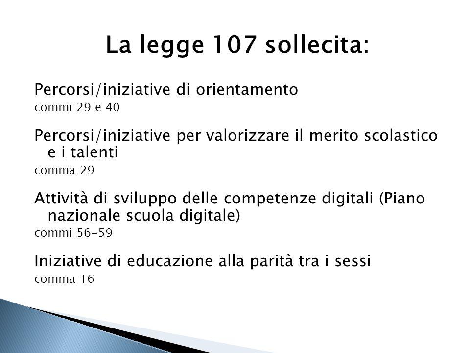 La legge 107 sollecita: Percorsi/iniziative di orientamento commi 29 e 40 Percorsi/iniziative per valorizzare il merito scolastico e i talenti comma 2
