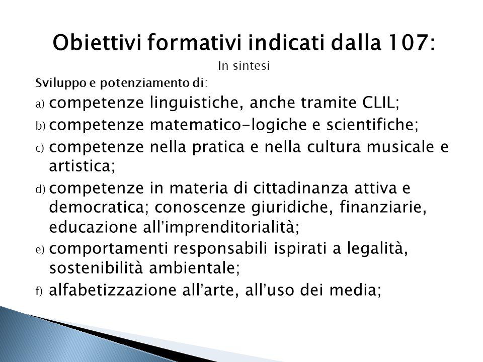 Obiettivi formativi indicati dalla 107: In sintesi Sviluppo e potenziamento di: a) competenze linguistiche, anche tramite CLIL; b) competenze matemati