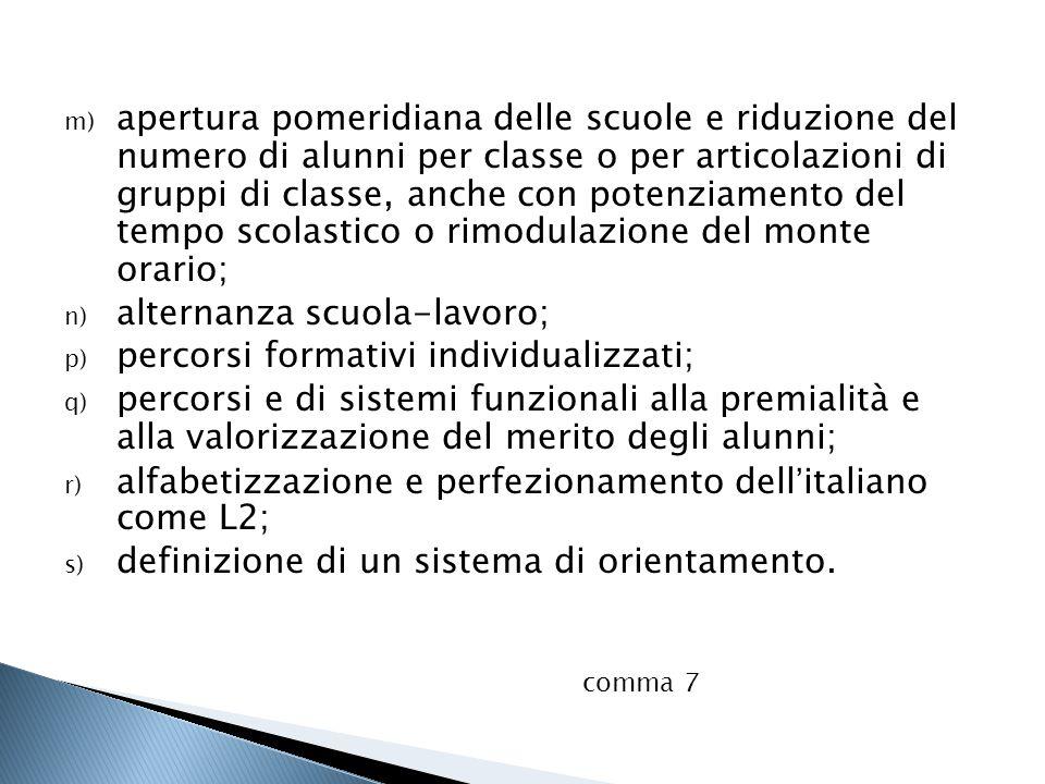 m) apertura pomeridiana delle scuole e riduzione del numero di alunni per classe o per articolazioni di gruppi di classe, anche con potenziamento del