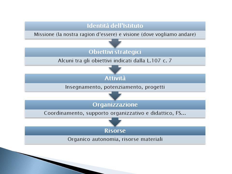 Risorse Organico autonomia, risorse materiali Organizzazione Coordinamento, supporto organizzativo e didattico, FS... Attività Insegnamento, potenziam