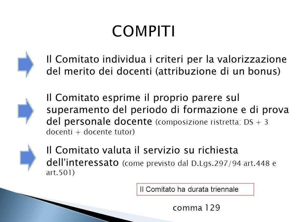 Il Comitato individua i criteri per la valorizzazione del merito dei docenti (attribuzione di un bonus) Il Comitato esprime il proprio parere sul supe