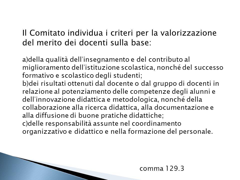 Il Comitato individua i criteri per la valorizzazione del merito dei docenti sulla base: a)della qualità dell'insegnamento e del contributo al miglior