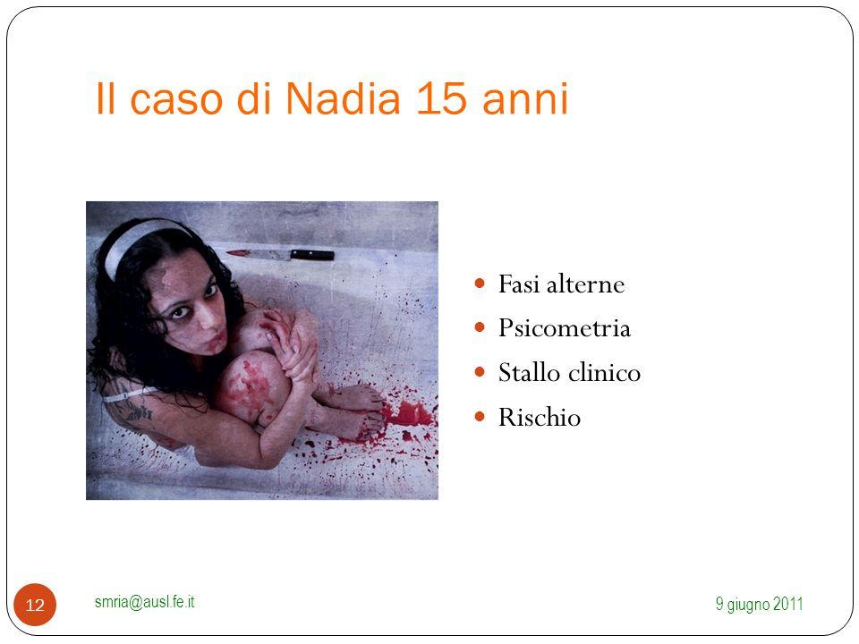 Il caso di Nadia 15 anni Fasi alterne Psicometria Stallo clinico Rischio 9 giugno 2011 smria@ausl.fe.it 12